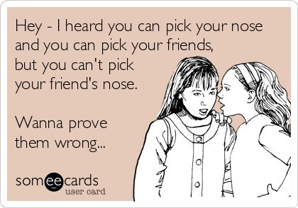 Pick your friend's nose E Cards friendship blog post