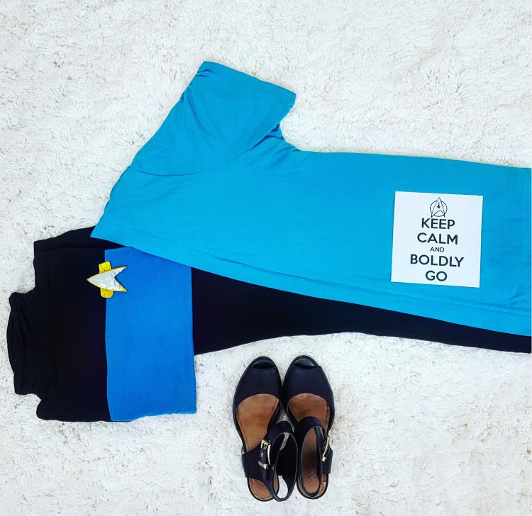 Thrift Store Cosplay Day 5 Beverly Crusher Star Trek The Next Generation fashion blog post flat lay