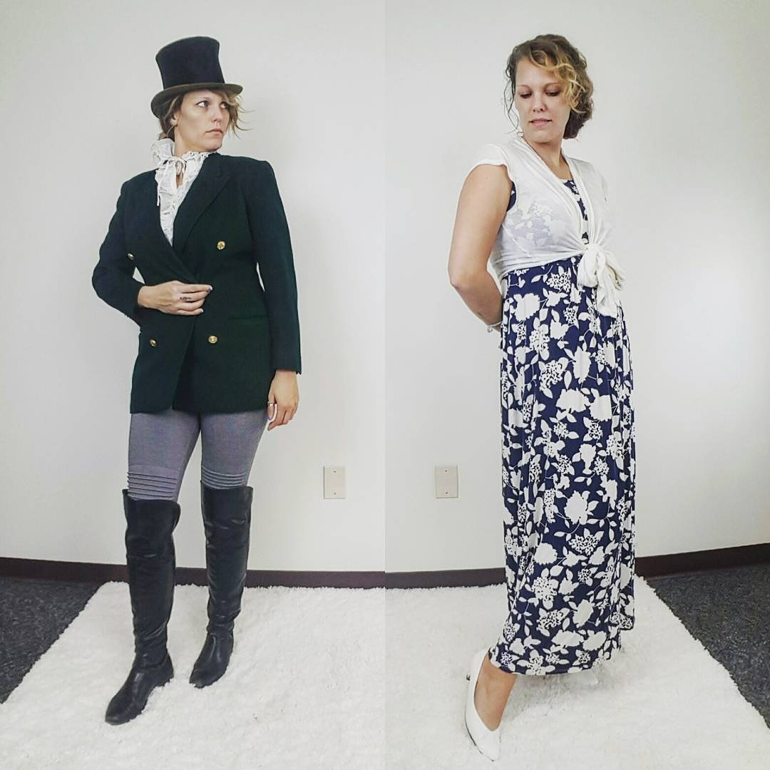Thrift Store Cosplay Day 10: Mr. Darcy and Elizabeth Bennet from Jane Austen's Pride and Prejudice fashion blog post