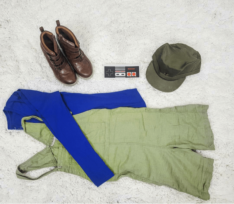 Thrift Store Cosplay day 13 Luigi flat lay Super Mario Brothers NIntendo
