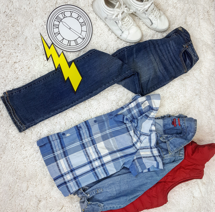 Thrift Store Cosplay Day 25 Marty McFly back to the Future fashion blog post flat lay