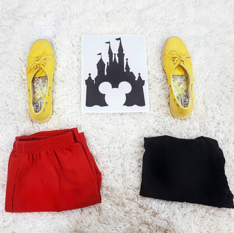 Thrift Store Cosplay Day 30: Mickey Mouse flat lay styled by Disney fashion blog post