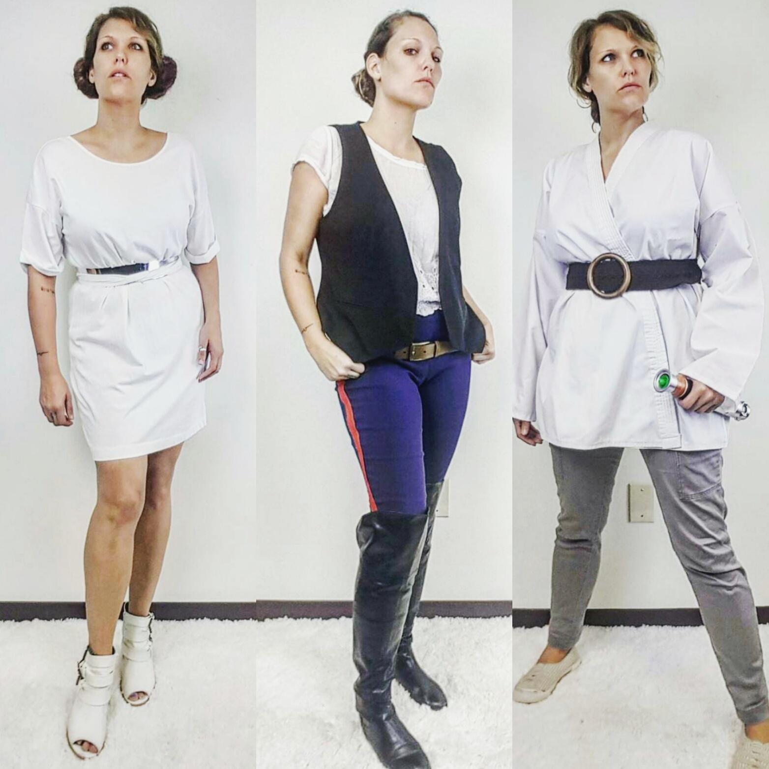 Thrift Store Cosplay Day 31: Star Wars Princess Leia, Han Solo, Luke Skywalker fashion blog post
